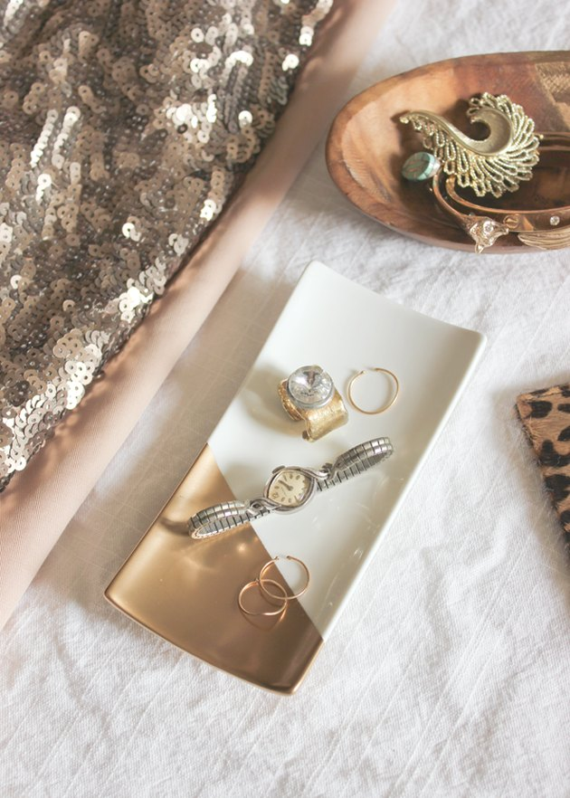DIY gold-dipped jewelry tray