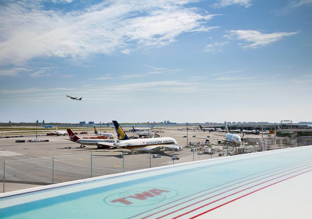 Roof deck and swimming pool at the TWA Hotel.