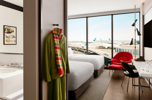 TWA guest room overlooking a runway at JFK Airport.