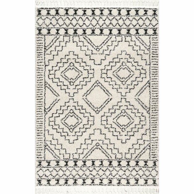 off-white and black area rug from Wayfair