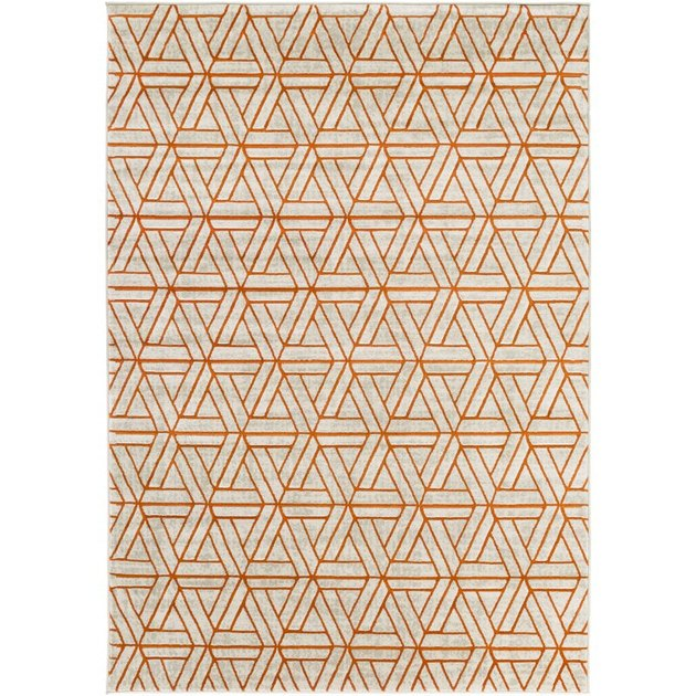 orange and brown geometric pattern rug from Wayfair