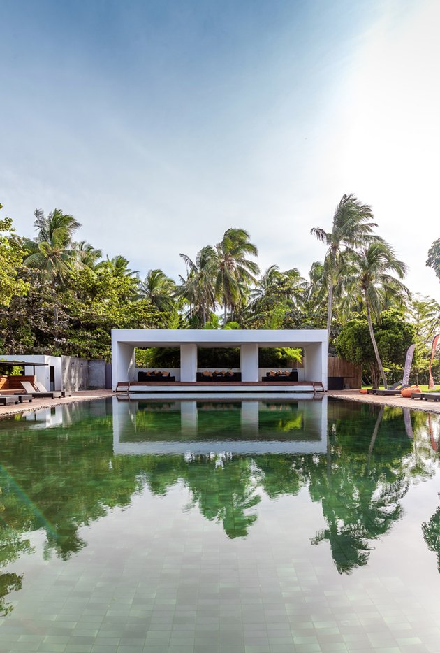Green tile backyard pool design with palm trees in Thailand