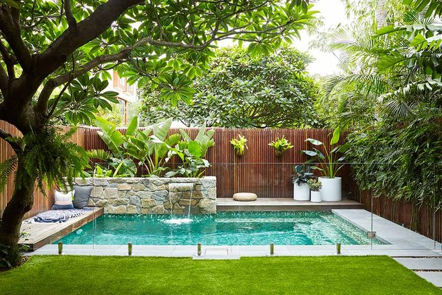 Backyard pool design surrounded by tropical plants, a fountain, and a green lawn