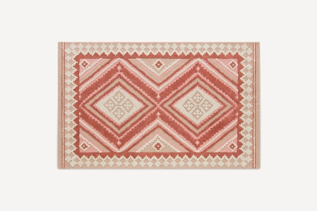 hand-tufted wool and viscose multicolored pink rug