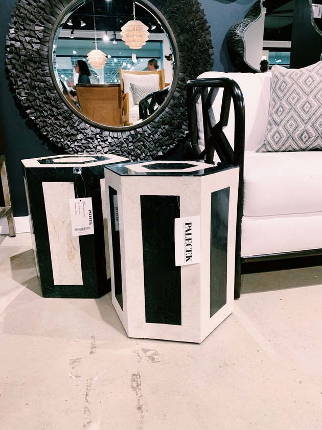 Palecek side tables in black and white