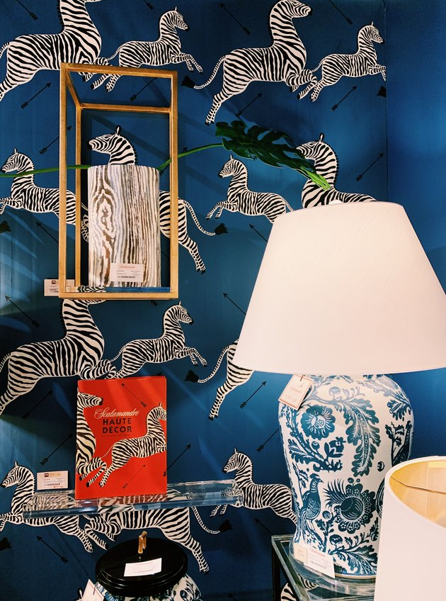 Scalamandre zebra print wallpaper in royal blue