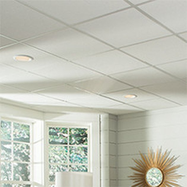 Suspended ceiling tiles.