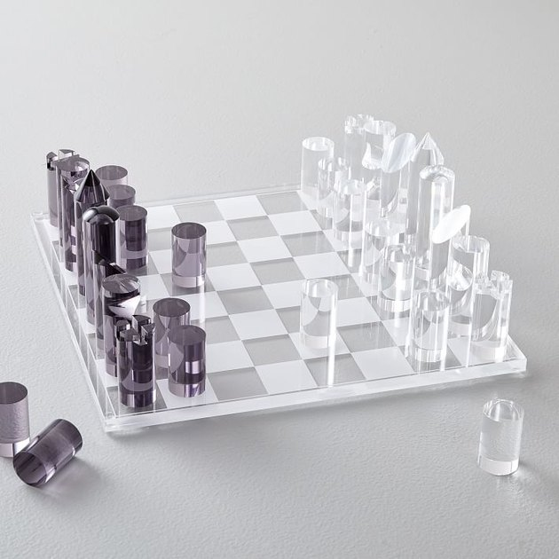 black and clear acrylic chess set