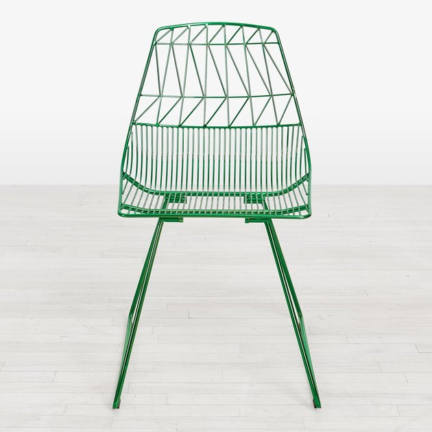 wire frame side chair in green