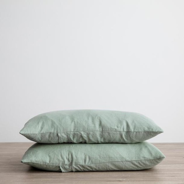 linen pillowcases in light green