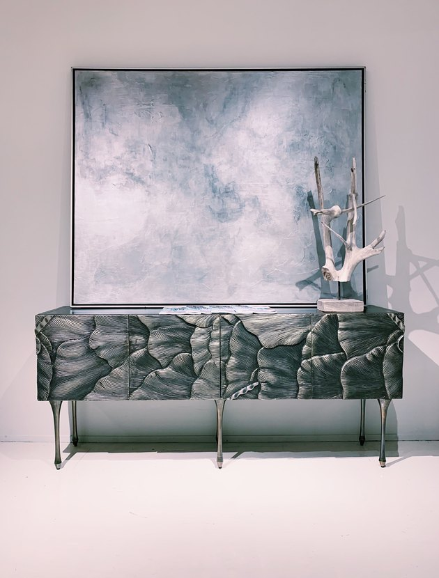 Bernhardt Flora Credenza with carved ginko leaves in German silver