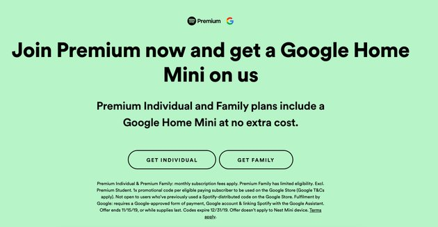 "screenshot of spotify website with the header ""join premium now and get a google home mini on us"""