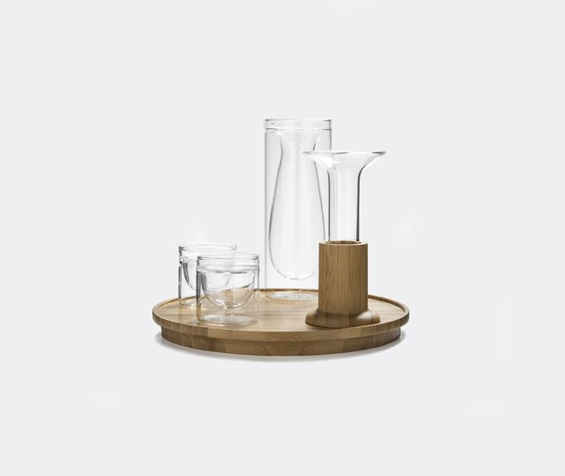 glass and bamboo tea set