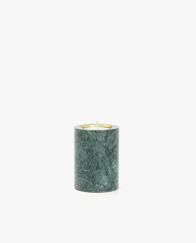green marble tea light holder
