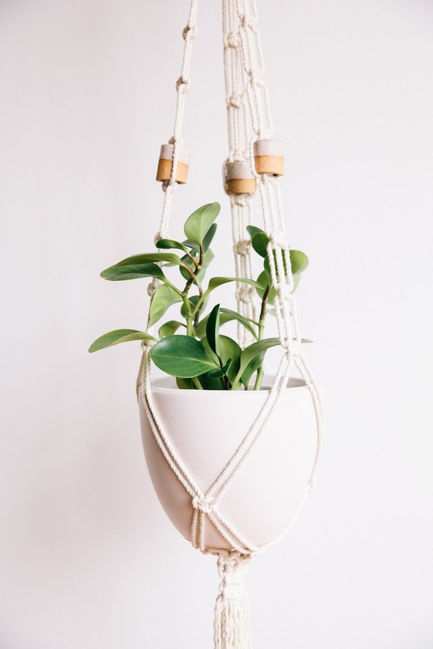 Macrame plant hanger with white ceramic pot and beaded accents