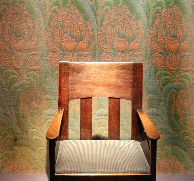 arts and craftsman style tapestry and chair