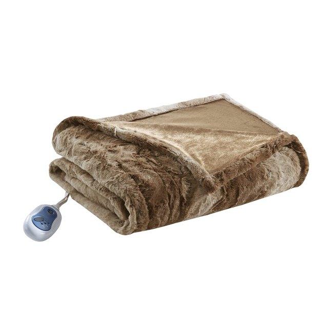 brown faux fur heated blanket