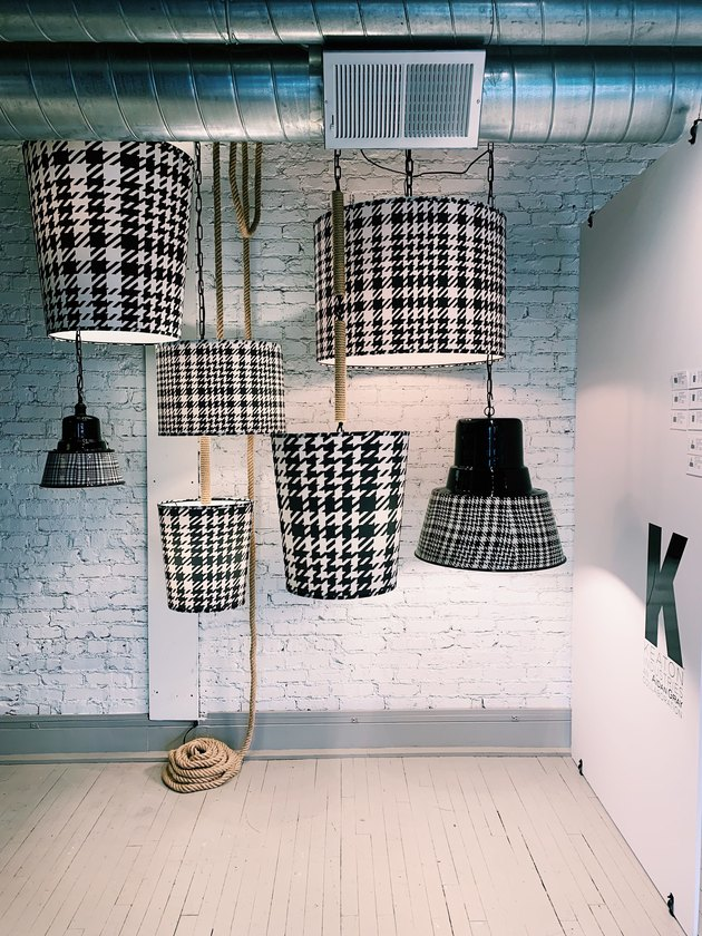 Keaton Industries pendant lighting in black and white houndstooth and plaid patterns