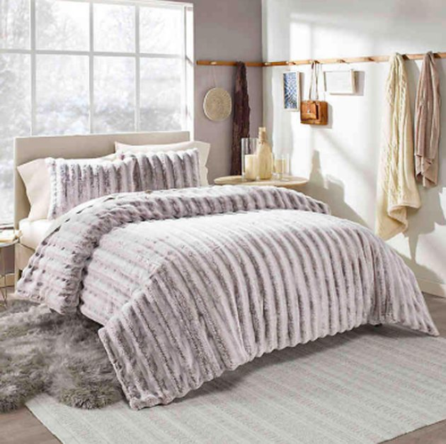 faux fur gray comforter set