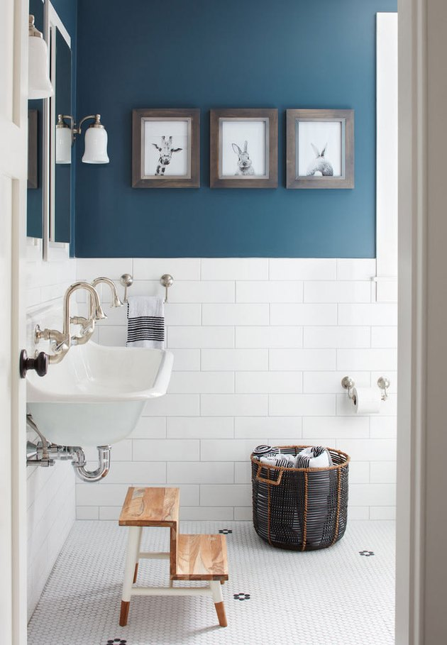 blue and white kids bathroom