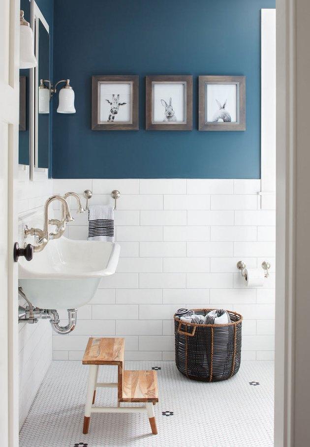 blue and white kids bathroom