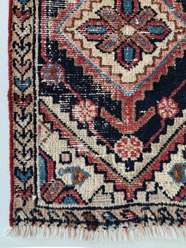 close-up of multicolored patterned rug