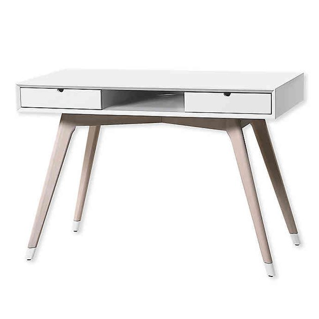 white desk with colorblock legs