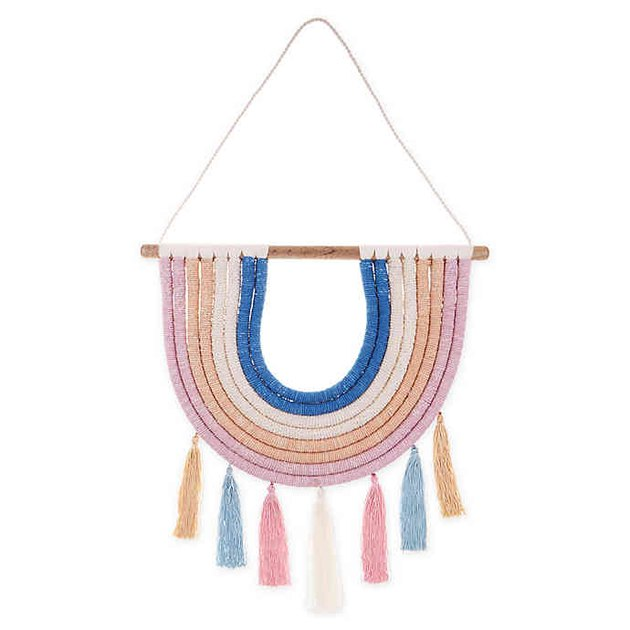 macrame rainbow hanging wall art