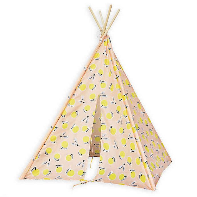 pink and lemon print teepee