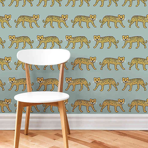 light green cheetah pattern peel and stick wallpaper