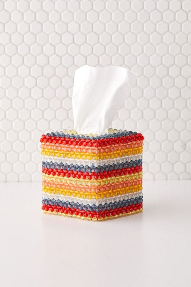 beaded multicolored tissue box