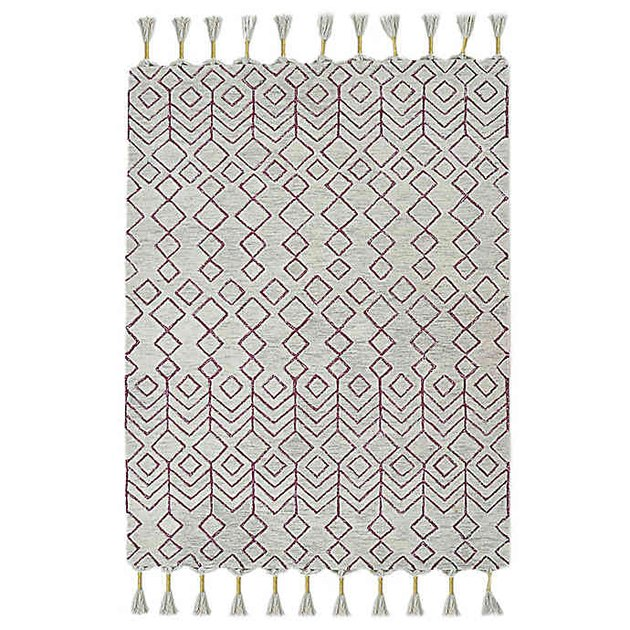 grey and purple pattern tassle rug