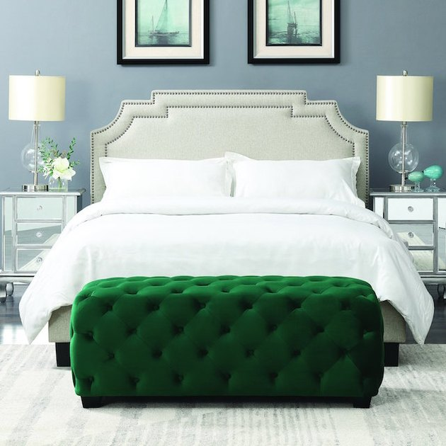 tufted green ottoman