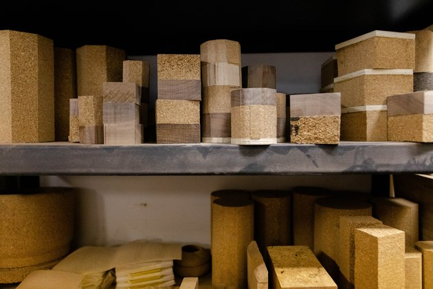 shelf with varying sizes of cork
