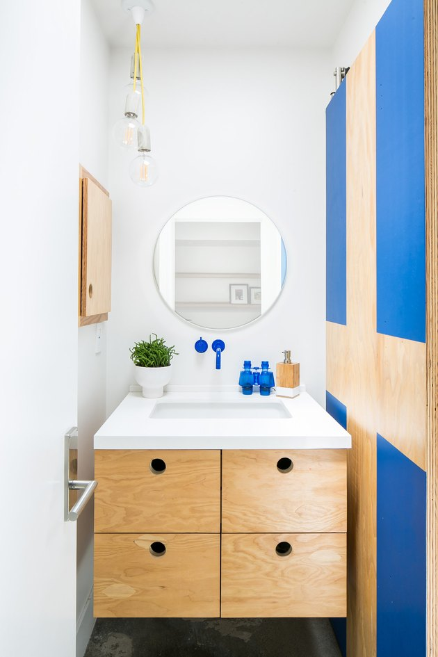 midcentury modern blue bathroom