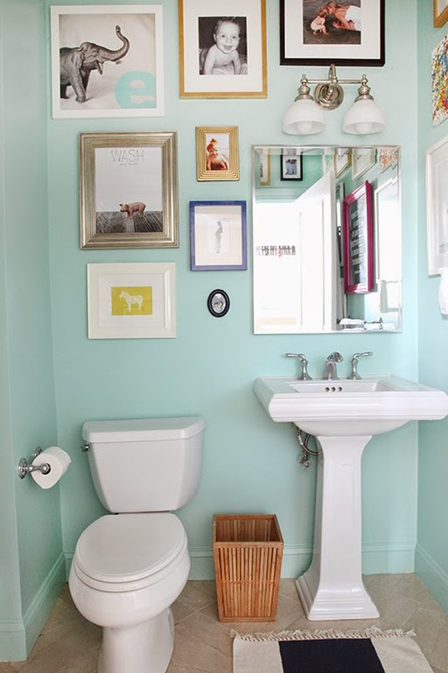 guest bathroom in light blue paint