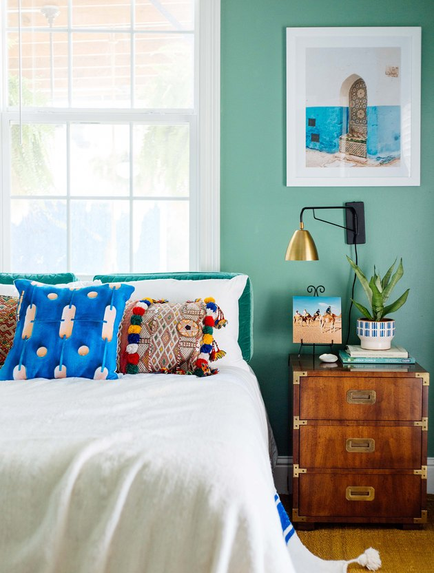 bohemian green bedroom