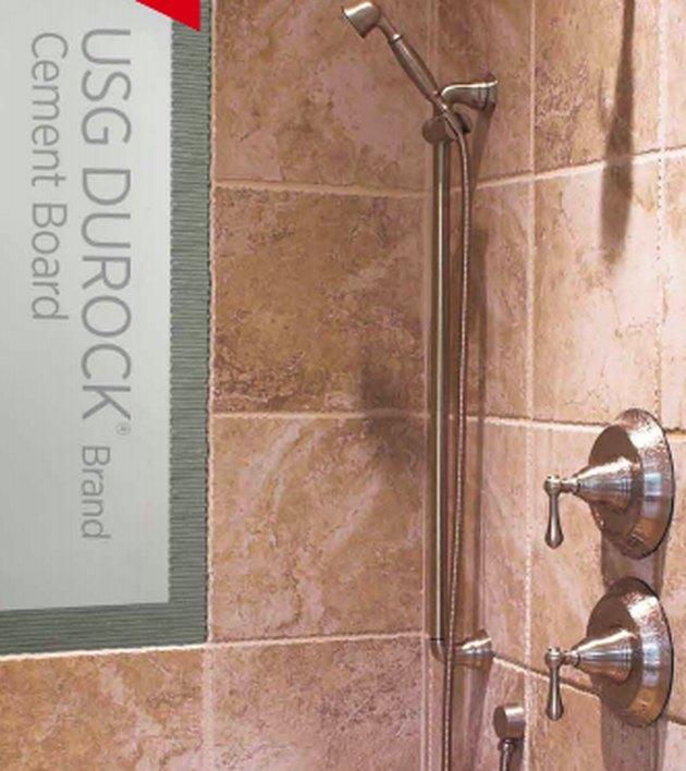Tile shower wall peel-back.
