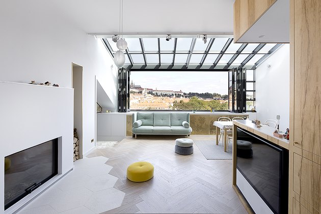 open living room with skylights