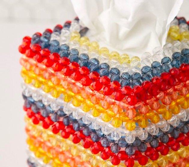 close up of beaded tissue box