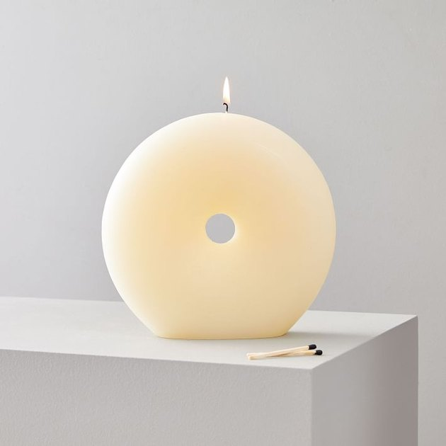 cream donut-shaped candle