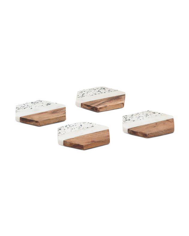 terrazzo and wood coasters set