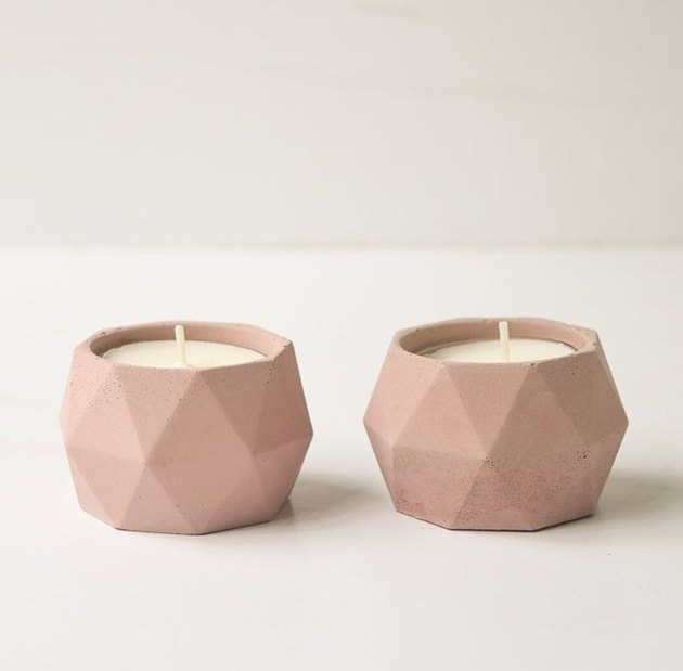 pink geometric candle holder set