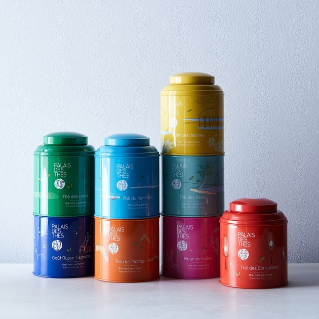 colorful tea cans