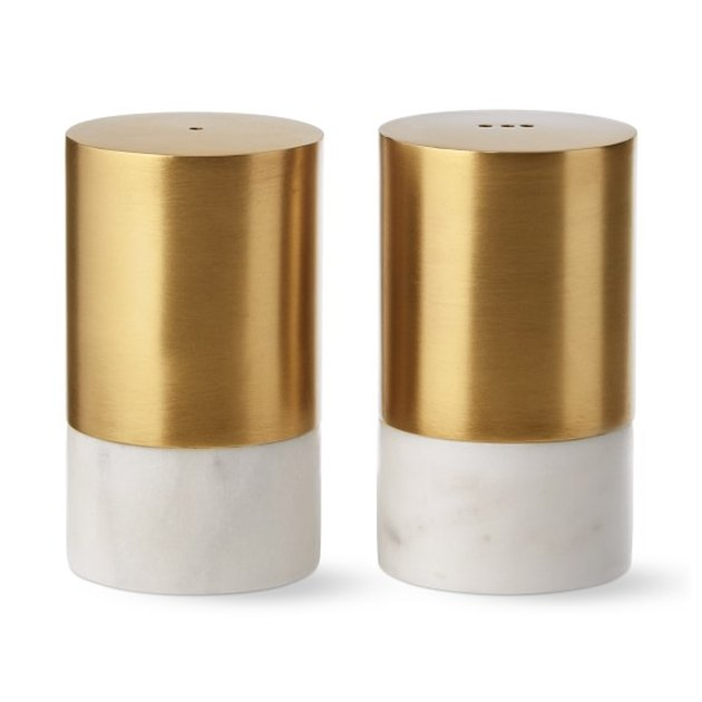 marble and gold salt and pepper shakers