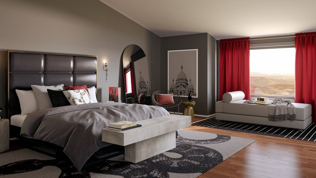 gray and red bedroom