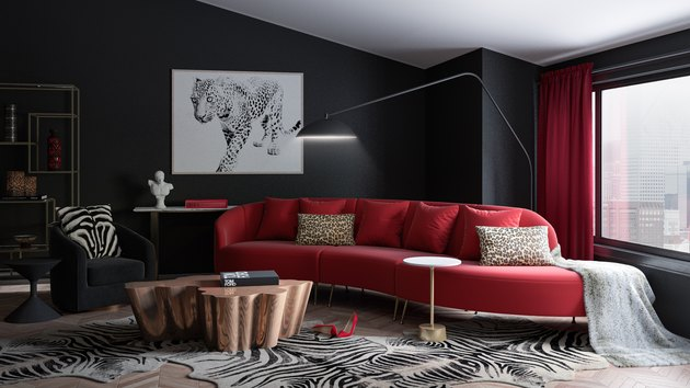 black and red mod living room