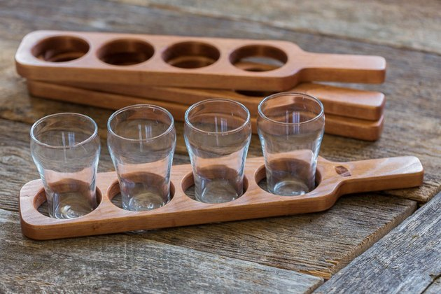 wood beer flight with glasses