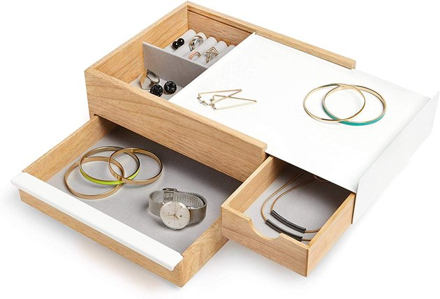 White and wood jewelry storage box with secret drawers