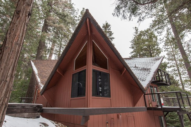 A-frame house in Lake Arrowhead in winter